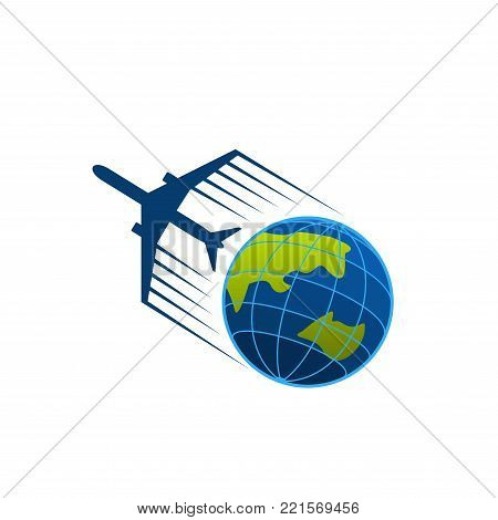 Airplane and world globe icon template for travel agency or air post mail delivery and aviation transportation service company. Vector isolated aircraft flying around earth for tourism or logistics