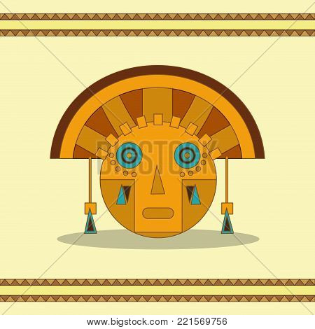 Face of  maya culture and mexican landmark theme Vector illustration