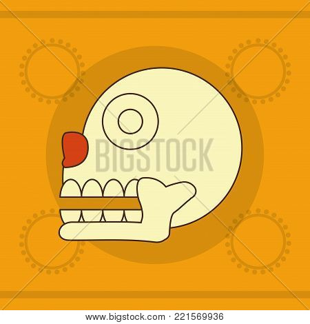 Skull of  maya culture and mexican landmark theme Vector illustration