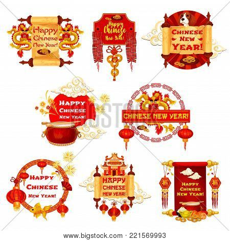 Happy Chinese New Year greeting icons of traditional China holiday celebration symbols and decorations. Vector Chinese dragon on hieroglyph wish scroll, red lanterns and golden coins on knot ornament
