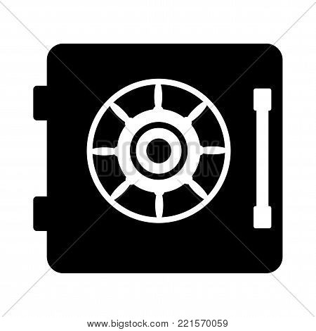 Safe door black icon. Flat vector safe door black icon. Objects isolated on white background.