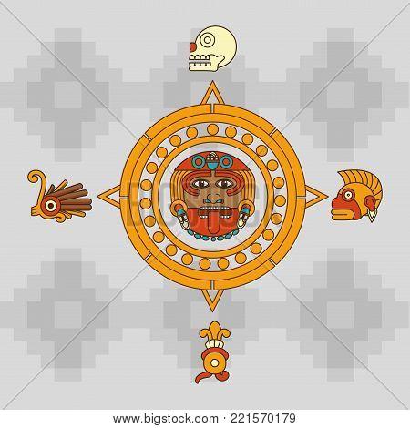 Calendar of  maya culture and mexican landmark theme Vector illustration