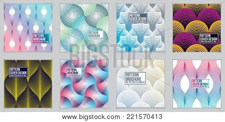 Design templates for flyers, booklets, greeting cards, invitations and advertisings. Geometric line patterns vector abstract advertising art set. Minimalistic brochure design.