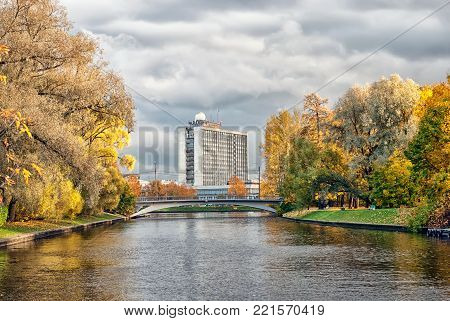 Saint - Petersburg, Russia - October 20, 2017: View of Palace of Youth - multifunctional complex with hotel, showrooms, office areas and winter garden. Was built in 1976.