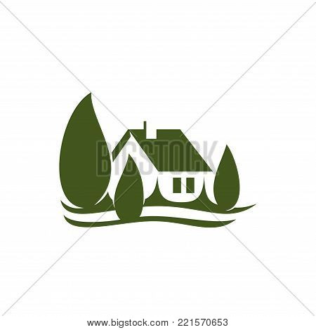 Green house in forest park icon for eco village constructions company or real estate agency and landscape design association. Vector country house in green parkland or nature woodlands