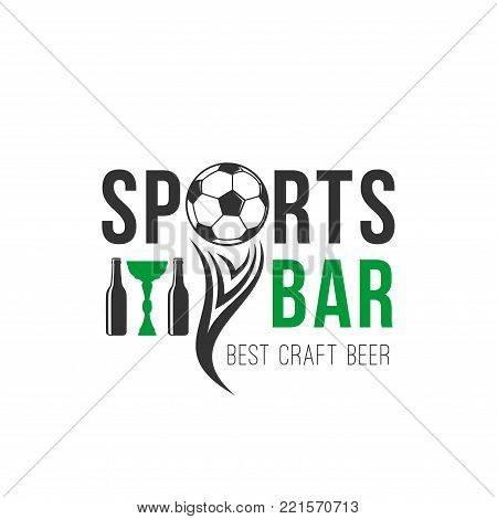 Soccer bar icon of football ball and beer bottle for sport bar or live cup championship. Vector design template for football beer pub and soccer game tournament of victory cup and ball