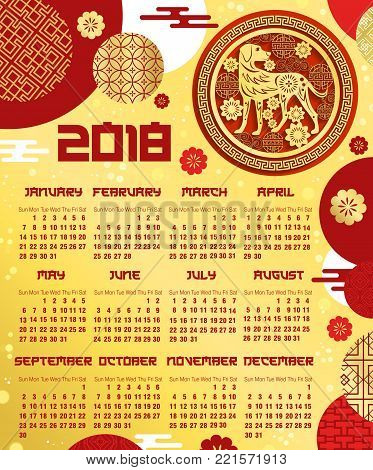 Chinese New Year Calendar Template Vector  Photo  Bigstock