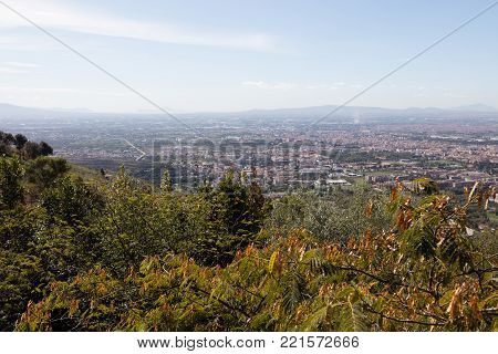 Landscape from Caserta Vecchia. Italy, with view of Capri and Pontine islands