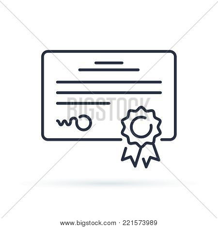 Vector certificate icon. Achievement or award grant, diploma concepts. Premium quality graphic design elements. Modern sign, linear outline pictogram, simple thin line icon