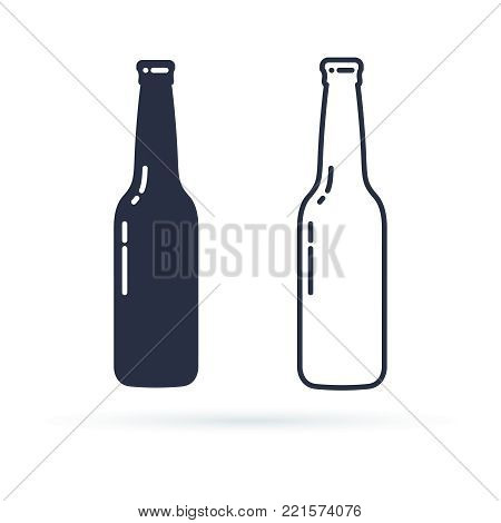 Beer bottle vector icon. Alcohol Drink filled and line icons set on a white background. Isolated in a trendy flat style. Vector illustration. Glass bottle symbol for your web site, logo design