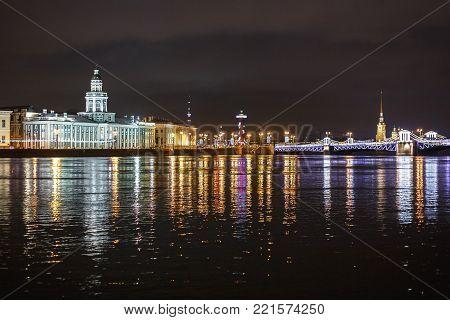 City landscape with the Neva River, St. Petersburg