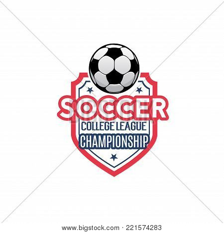 Soccer championship icon for football college league match tournament. Vector isolated heraldic badge of soccer ball and victory stars on shield for football club team cup in red and blue