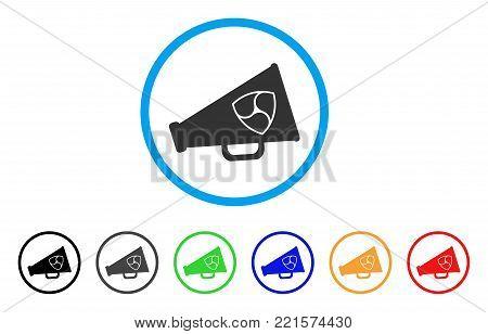Nem Megaphone rounded icon. Style is a flat gray symbol inside light blue circle with bonus color versions. Nem Megaphone vector designed for web and software interfaces.