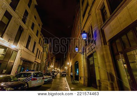 BRUSSELS, BELGIUM -CIRCA JUNE 2014: Central police station of Brussels in evening