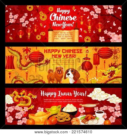Chinese New Year of Dog greeting banners of traditional Asian lunar holiday celebration symbols. Vector dog, golden dragon and Chinese lanterns on knots, cherry blossom and gold sycee with tangerines
