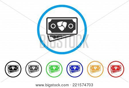 Nem Banknotes rounded icon. Style is a flat gray symbol inside light blue circle with additional color versions. Nem Banknotes vector designed for web and software interfaces.