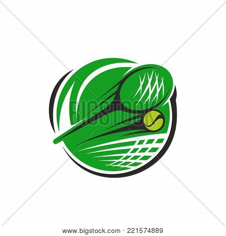 Tennis sport club or championship game icon template for fan club or sport team. Vector isolated badge template of tennis racket and flying ball over green goal net for world tennis tournament