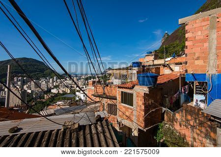 Electricity Cables From One House to Another in Santa Marta Favela in Rio de Janeiro