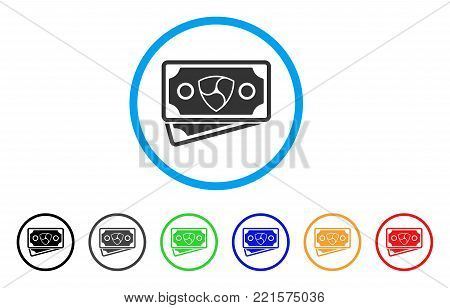 Nem Banknotes rounded icon. Style is a flat grey symbol inside light blue circle with bonus colored versions. Nem Banknotes vector designed for web and software interfaces.