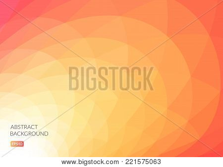 Abstract background with curved geometric shapes. Bright shades of yellow and red. The illusion of movement.