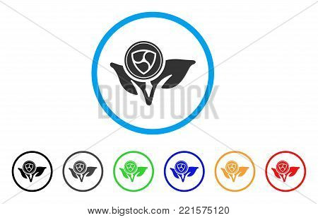 Nem Coin Eco Startup rounded icon. Style is a flat grey symbol inside light blue circle with bonus colored versions. Nem Coin Eco Startup vector designed for web and software interfaces.