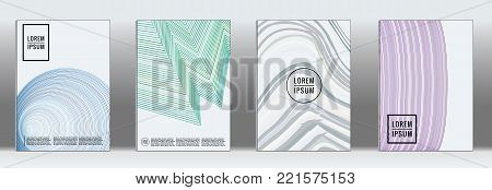 Retro placards. Minimal geometric annual report templates. Set of abstract hipster covers with gradient geometric graphic design. Mockup for magazine cover. Simple retro page cover. Flat memphis print