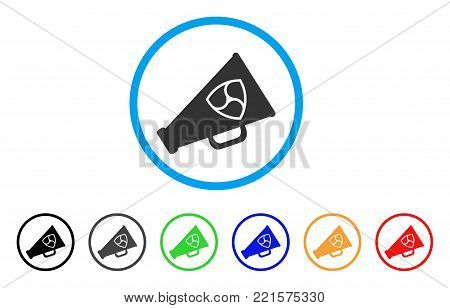 Nem Megaphone rounded icon. Style is a flat grey symbol inside light blue circle with additional color variants. Nem Megaphone vector designed for web and software interfaces.