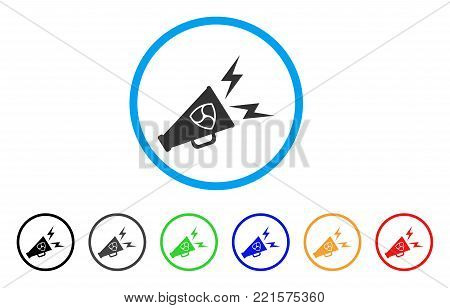 Nem Megaphone Alert rounded icon. Style is a flat gray symbol inside light blue circle with bonus color variants. Nem Megaphone Alert vector designed for web and software interfaces.