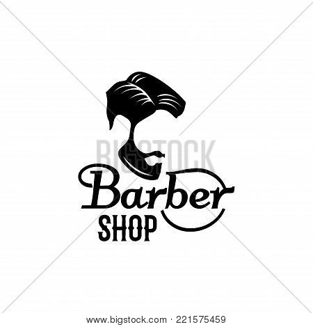 Barber shop icon design template of beard and mustaches and man head haircut black silhouette. Vector isolated symbol of retro barbershop or trendy hipster haircutter salon