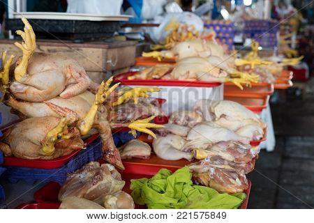 chicken exposed in the Cusco market, Peru
