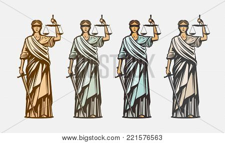 Lawsuit, judge symbol. Lady justice, judgment, defence justitia concept vintage vector