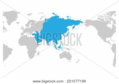 Asia continent blue marked in grey silhouette of World map. Centered on Asia. Simple flat vector illustration.