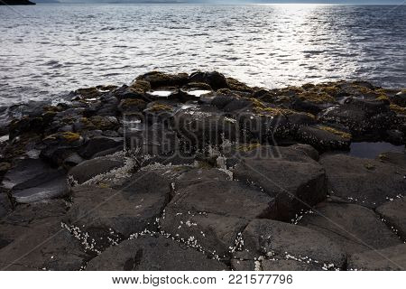 The Giant's Causeway is an area of about 40,000 interlocking basalt columns, the result of an ancient volcanic eruption.