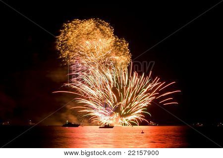Fireworks Reflecting on The Sea