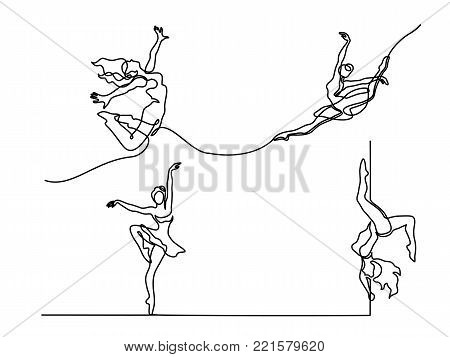 Set continuous Line Art Drawing. Ballet Dancer ballerina. Vector Illustration
