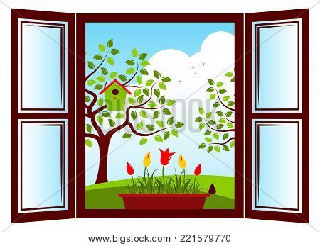 vector tulips in planter in the window and trees with nesting bird box outside the window