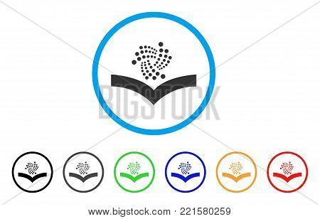 Iota Knowledge rounded icon. Style is a flat grey symbol inside light blue circle with bonus color variants. Iota Knowledge vector designed for web and software interfaces.