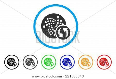 Iota Refresh rounded icon. Style is a flat grey symbol inside light blue circle with bonus color versions. Iota Refresh vector designed for web and software interfaces.