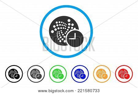 Iota Credit Clock rounded icon. Style is a flat grey symbol inside light blue circle with additional color versions. Iota Credit Clock vector designed for web and software interfaces.
