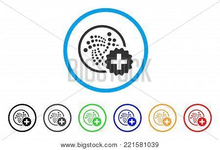 Create Iota rounded icon. Style is a flat grey symbol inside light blue circle with additional color versions. Create Iota vector designed for web and software interfaces.