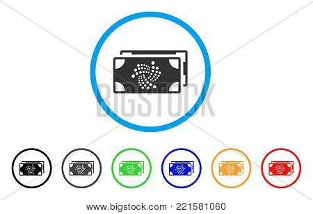 Iota Bank Bills rounded icon. Style is a flat gray symbol inside light blue circle with bonus color variants. Iota Bank Bills vector designed for web and software interfaces.