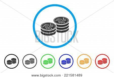 Iota Coin Stacks rounded icon. Style is a flat grey symbol inside light blue circle with bonus color versions. Iota Coin Stacks vector designed for web and software interfaces.