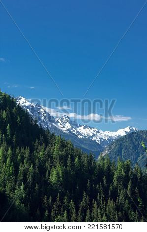landscape in ferret valley during summer in italy