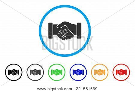 Iota Contract Handshake rounded icon. Style is a flat gray symbol inside light blue circle with bonus color versions. Iota Contract Handshake vector designed for web and software interfaces.