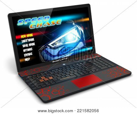 3D render illustration of modern black gamer laptop or notebook with auto car racing sport video game isolated on white background