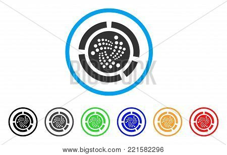 Iota Pie Diagram rounded icon. Style is a flat gray symbol inside light blue circle with additional color versions. Iota Pie Diagram vector designed for web and software interfaces.
