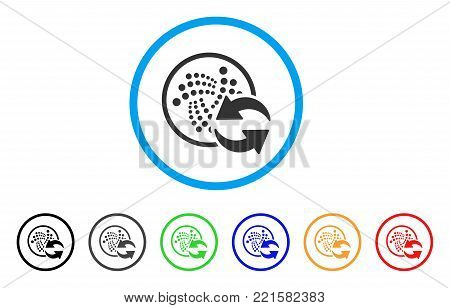 Iota Refresh rounded icon. Style is a flat gray symbol inside light blue circle with additional color versions. Iota Refresh vector designed for web and software interfaces.