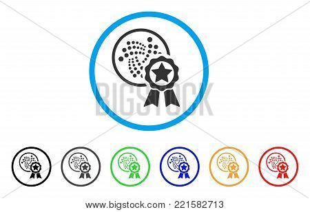 Iota Star Reward rounded icon. Style is a flat grey symbol inside light blue circle with additional color versions. Iota Star Reward vector designed for web and software interfaces.