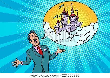 Confident businessman offers a fabulous castle in the sky. Comic book cartoon pop art retro illustration