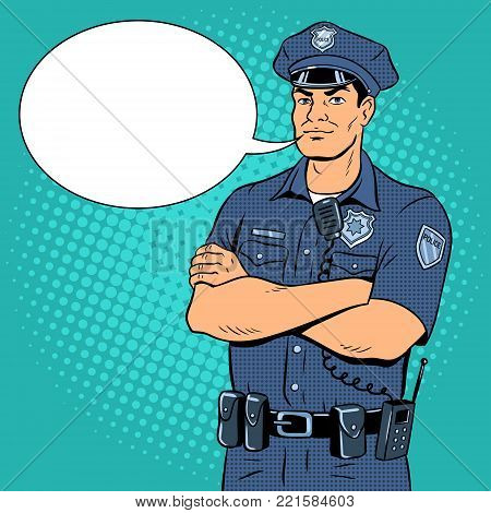 Policeman pop art retro vector illustration. Color background. Text bubble. Comic book style imitation.